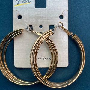 fashion triple hoop gold earrings